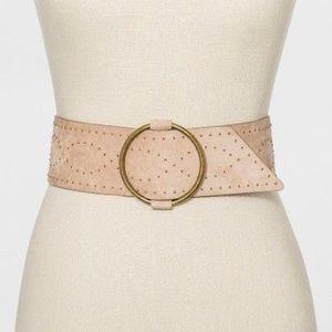 Women's Studded Stretch Belt Wide Beige Tan
